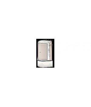 Кабина душевая 120х80х218 см Deligh128R high поддон высокий, стекло прозрачное, без электрики, голубая стенка DOMANI-Spa