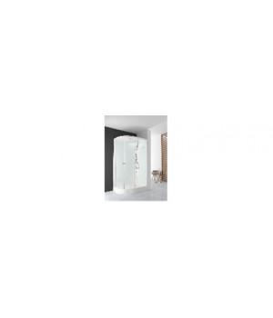 Кабина душевая 120х80х218 см Deligh128R поддон высокий, стекло прозрачное, без электрики, розовая стенка DOMANI-Spa