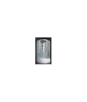 Кабина душевая 100х100х218 см Z24 поддон высокий, стекло крезит, электрика, белая стенка VERNER