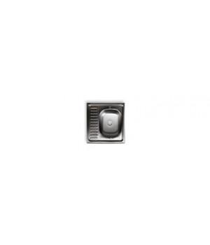 "Мойка нержавеющая накладная 600х600х150 мм 0,5 мм правая без сифона, выпуск 1 1/2"""