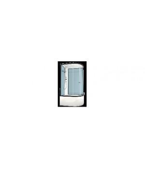 Кабина душевая 120х80х218 см Deligh128L поддон высокий, стекло прозрачное, без электрики, голубая стенка DOMANI-Spa