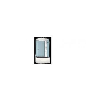 Кабина душевая 120х80х218 см Deligh128L поддон высокий, стекло прозрачное, без электрики, розовая стенка DOMANI-Spa