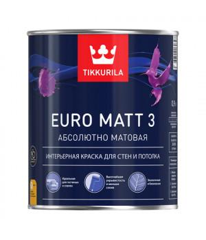 Краска Тиккурила Евро Матт 3 для детской и спальной латексная база А 0,9 л