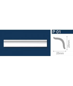 Плинтус полистирол Р01 белый 1м СОЛИД