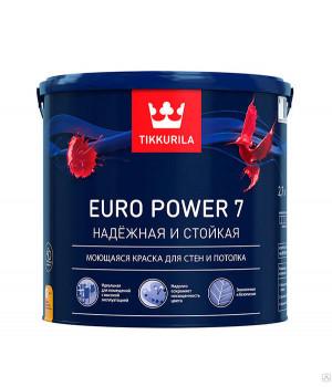 Краска Тиккурила Евро Power 7 для стен и полотка моющайся база А 2,7 л