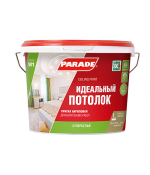 Краска Parade W1 для потолка белая матовая 10 л интерьерная