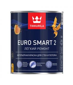 Краска Тиккурила Евро Смарт 2 для стен и пололков латексная база А 2,7 л