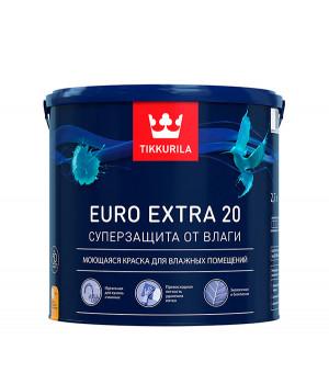 Краска Тиккурила Евро Экстра 20 для кухонь и ванн моющаяся база А 2,7 л латексная