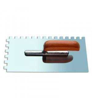 """Кельма зубчатая нержавеющая 6х6 мм с деревянной ручкой """"888"""""""
