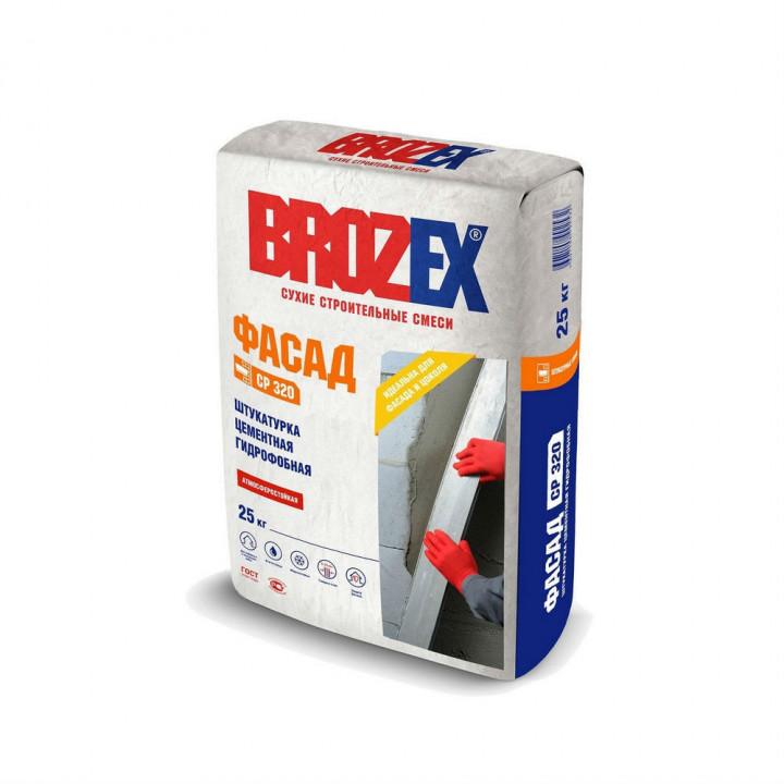Штукатурка цементная фасадная гидрофобная Brozex СР 320 Фасад 25 кг