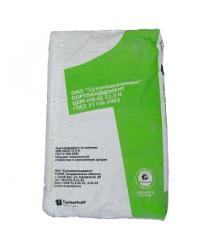Цемент Сухой Лог 50кг ЦЕМ II/В-Ш 32,5Н, зеленый мешок