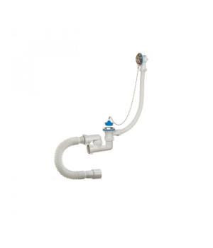 Сифон для ванны регулируемый 1.1/2 x 40/50 с переливом и гибкой трубой А- 80089, ORIO