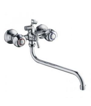 Смеситель для ванны Accoona Н77, А7377 (с 2-я рукоятками, держатель для лейки) длиный излив A7130S хром
