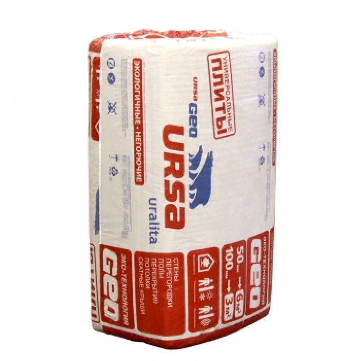 Минераловатный утеплитель URSA GEO универсальные плиты (1000х600х50)х10